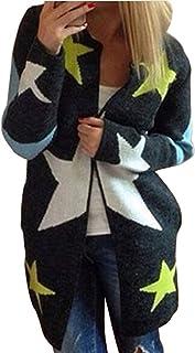 Minetom Mujer Invierno Largo De Punto Cárdigan Manga Larga Jerséis Abrigos Estrellas Sudaderas Outwear Chaquetas