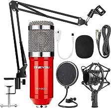 ZINGYOU Condenser Microphone Bundle, BM-800 PC Microphone Professional Cardioid Studio Mic Set with Mic Suspension Scissor Arm, Shock Mount and Pop Filter for Studio Recording & Broadcasting (Aurora R