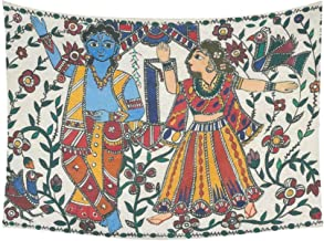 JC-Dress Wall Tapestry Madhubani Radha Krishna Cotton Linen Tapestries Hanging 60 x 80