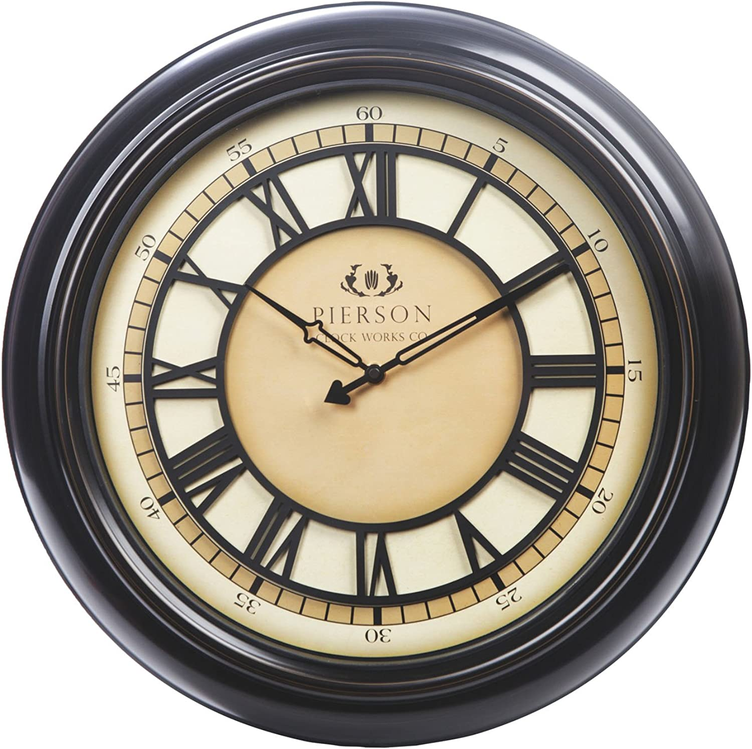 Chaney Instruments Co 75176 Wall Clock with Raised Dial, 18 , Black