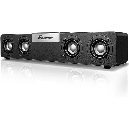 Foxnovo Bluetooth Computer Speakers Desktop: 20W Mid-treble Boost PC Soundbar USB Powered Wired & Wireless Gaming Speakers Wooden Cavity Wireless Loud Speakers for Laptops|PC|Desktop|Monitors (Silver)