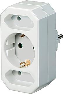 Brennenstuhl Mehrfachsteckdose, Steckdosenadapter 3-fach mit Kindersicherung 2 x Eurosteckdose & 1 x Schutzkontakt Farbe: weiß