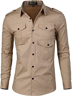Men Slim Fit Long Sleeve Solid Color Point Collar Stretchy Casual Shirt