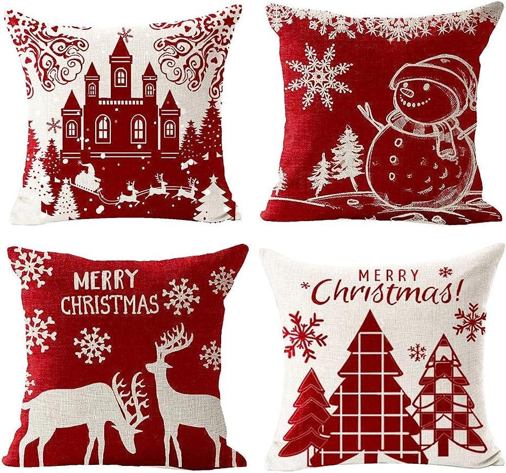 Gspirit 4 cuscini con decoro natalizio in cotone e lino