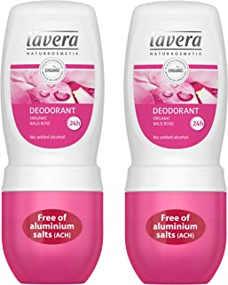 lavera Natural Roll-on Wild Rose Deodorant (Pack of 2): Aluminum-Free Odor Protection & Wetness Relief with Organic and Vegan Wild Rose – all Day Fresh – 1.6 Oz