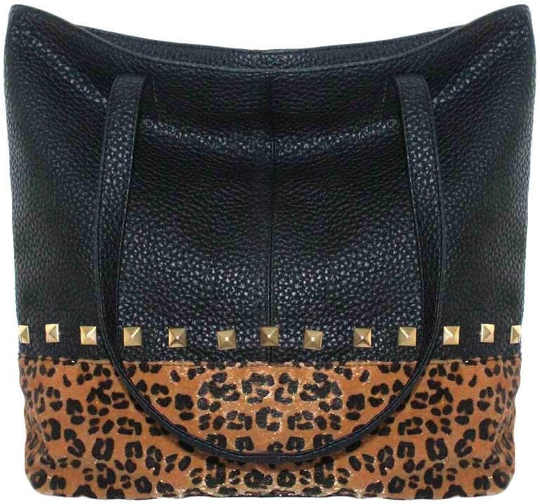 Plum Luxury Fashion Shoulder Handbag - Black Animal Print Ambar