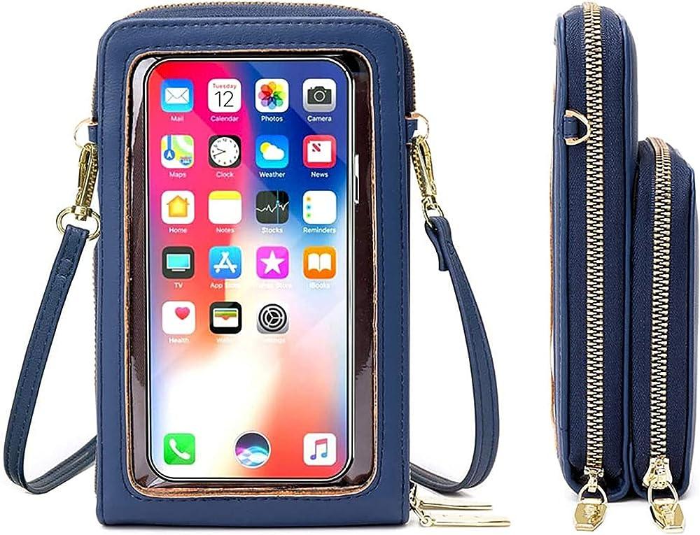 Rrancharltu portafoglio porta carte di credito porta cellulare per donna in pelle sintetica blu
