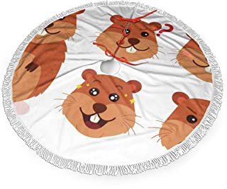 YANGPI Cartoon Gopher Expressions Christmas Tree Skirt for Decor, New Year Festive Holiday Party Decoration with White Fringed Lace