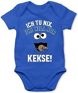 Shirtracer Sprüche Baby - Ich tu nix. Ich Will nur Kekse! - weiß/schwarz - Baby Body Kurzarm für Jungen und Mädchen