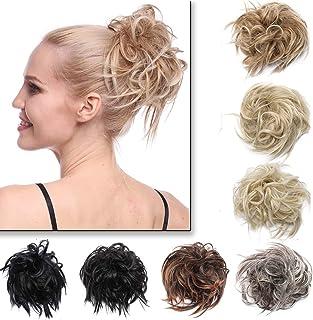 Przedłużenie włosów, kok na gumce, gumka do włosów, wysokie upięcia, jak prawdziwe włosy, 45 g, średni brąz i tleniony blond