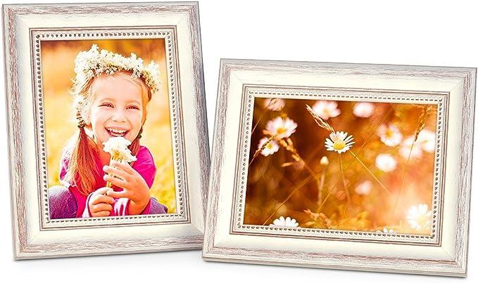 192 opinioni per Photolini Set di 2 cornici per Foto da 13x18 cm in Stile Country Bianco in Legno