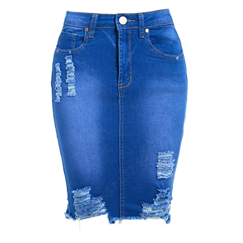 1ef2e7eda9 SS7 Womens Stretch Skirt Ladies Pencil Ripped Denim Skirts New Size 6 8 10  12 14