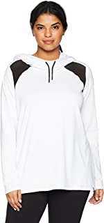 Marc New York Performance Women's Plus Size Long Sleeve Hooded Pullover with Mesh
