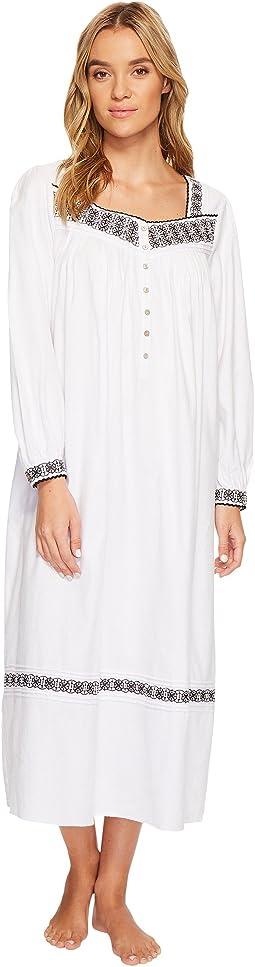 Eileen West - Embroidered Flannel Ballet Nightgown