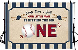 MEHOFOTO Vintage Baseball 1st Birthday Photo Backgrounds Boy Sports Ball One Happy Birthday Party Decorations Banner Photography Backdrops Props for Cake Table Supplies 7x5ft