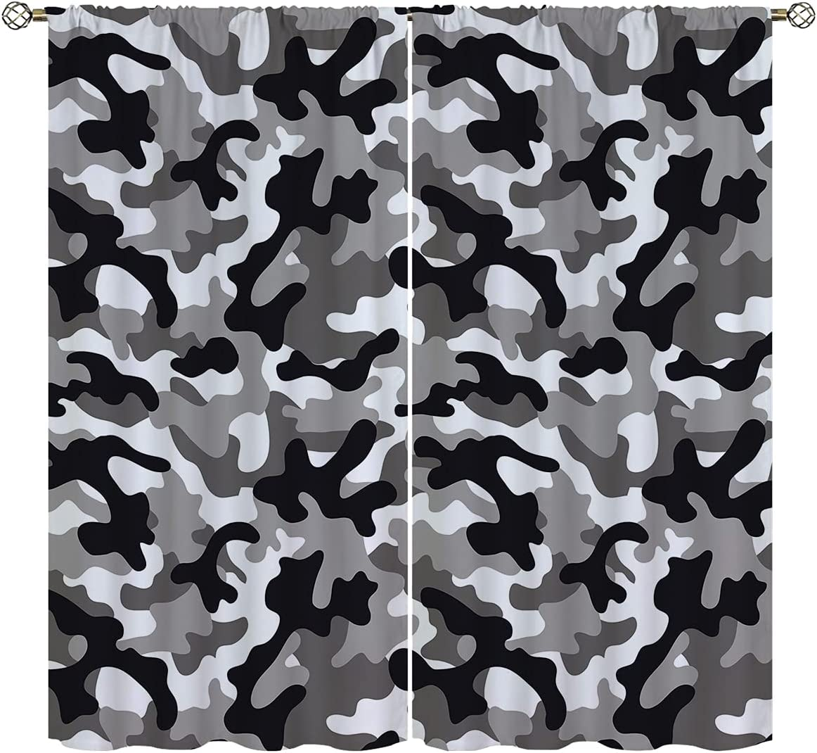 Camouflage Background Blackout Curtains for Home Decor,Colorful Camo Blue Brown Rod Pocket Thermal Insulated Drapes Darkening Window Curtain for Girls Boy Bedroom Living Room 42 x 63 Inch