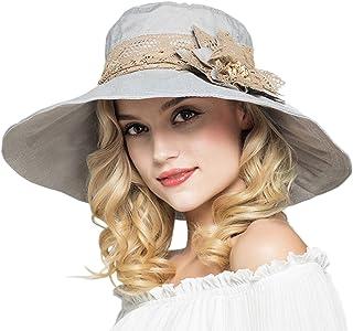 Elonglin Femme Fille Capeline Amovible Bord Large Anti-UV Double-Face Imprim/é Chapeau de Plage Respirant pour Voyager Randonn/ée en Coton Point Bleu