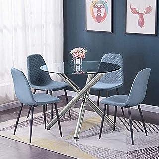 BJYG Muebles Redondos de Vidrio para Cocina, Mesa de Comedor y sillas, Juego de 4 sillas de recepción de Oficina tapizadas en Terciopelo Azul y Mesa de Vidrio Templado Transparente, Juego de Mesa