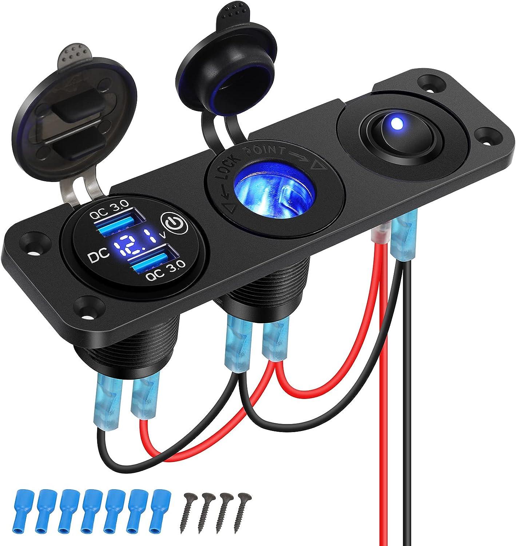 Thlevel Cargador USB Coche Panel de Enchufes 12V / 24V 36W con QC 3.0 Doble Cargador USB y Voltímetro Digital LED y Encendedor de Cigarrillos y LED Azul Interruptor, para Coche, Marina, Barco, Camión