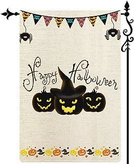 Coskaka Happy Halloween Pumpkin Garden Flag Trick Or Treat Ghost Garden Flag عمودي مزدوج الجانبين ريفي مزرعة الخيش ساحة ال...