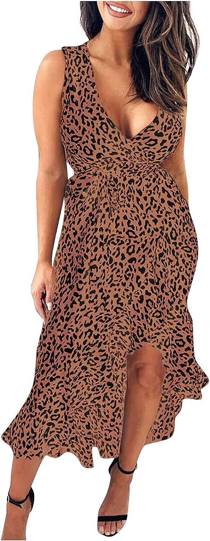 Fashion Womens Ruffles V Neck Sleeveless Split Comfy Casual Long Dress Summer