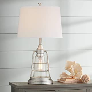 Fisher Nautical Table Lamp with Nightlight LED Edison Bulb Galvanized Metal Cage Drum Shade for Living Room Bedroom - Franklin Iron Works