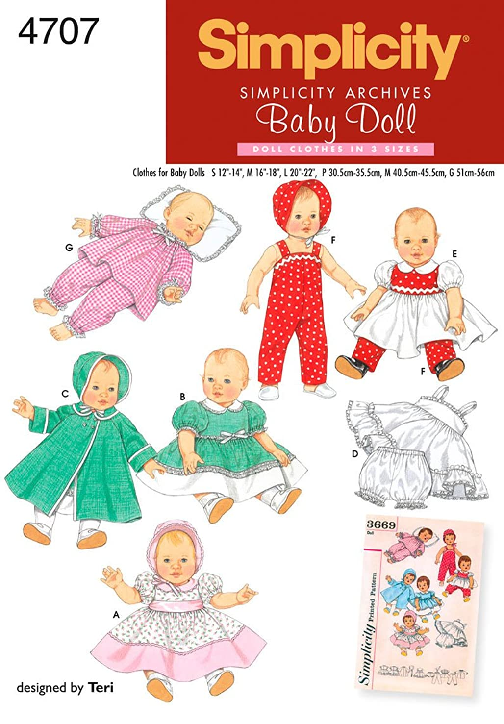 Simplicity 4707 Vintage Baby Doll Clothing Sewing Patterns for Girls by Teri, A (S-L)