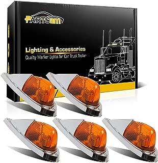 Partsam 5X Amber Cab Marker Top Roof Running Lights Kit Universal Teardrop Style Cab Light Compatible with Kenworth/Peterbilt/Freightliner/Mack/Western Star Truck Trailer