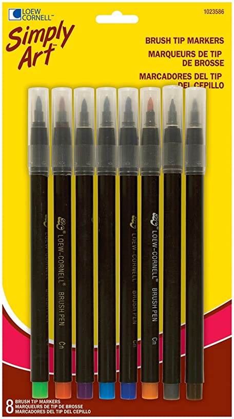 Loew-Cornell Simply Art Brush Tip Markers, 8-Count