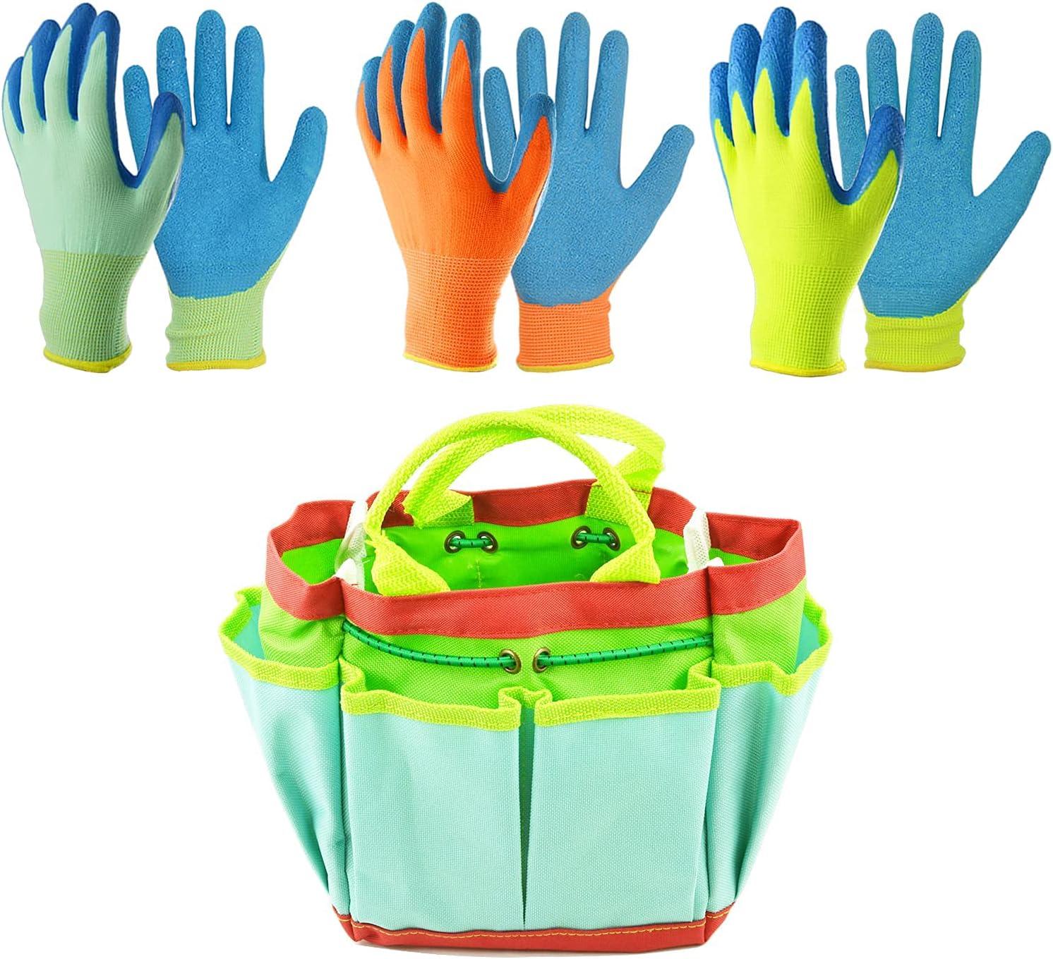 GLOSAV Kids Gardening Gloves Size Opening large release sale 2021 new 3 Pairs Stora