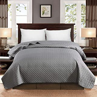 HollyHOME Super Soft Solid Single Bed Quilt Bedspread Comforter Bed Cover, Candy Pattern, Grey, Full/Queen