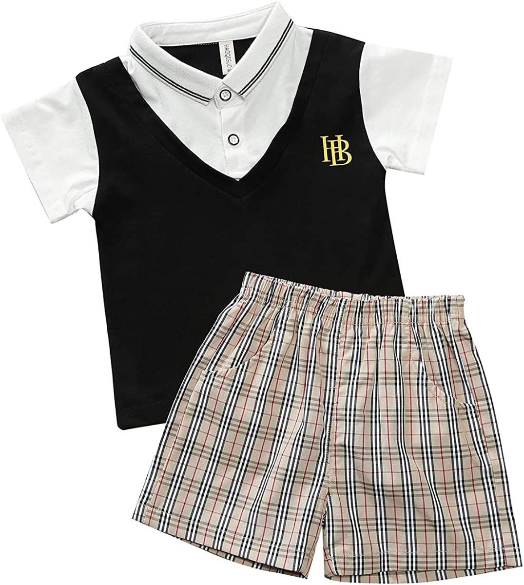 Boys Gentleman Outfit, Short Sleeve T-Shirt with Fake Vest & Pants & Bowtie,boy Clothing Suit