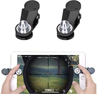GTOTd Mini 3D Tablet Game Controllers,Oval Metal Touch Buttons,Hard Plastic,Rubber Pad for Screen Protection,Sensitive Aiming and Shooting for Tablet Game Players (2 triggers)
