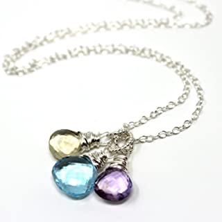 Gemstone Necklace Blue Topaz Pink Amethyst Scapolite Sterling Silver Mini Pendants 18 Inch