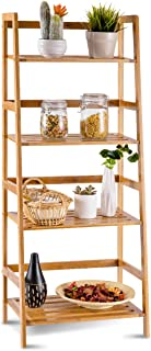 COSTWAY Bamboo Ladder Shelf Multifunctional Plant Flower Display Stand Storage Rack Bookcase Bookshelf Natural (4 Tier)