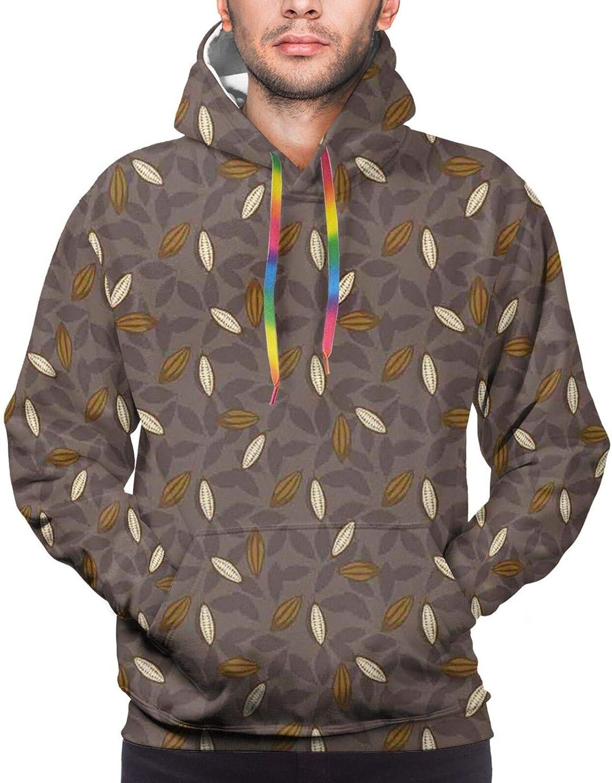 Men's Hoodies Sweatshirts,Row Beans Earth Tones Organic Seed Aromatic Drink Food Nature Theme