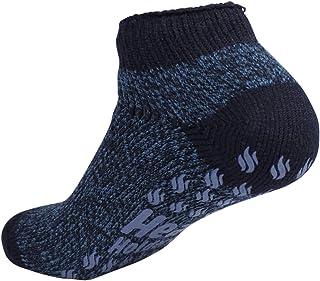 Heat Holders Thermal Ankle Non-Slip-Grip Winter Warm Slipper Socks UK 6-11 Navy-Denim Twist