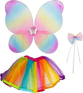 Lux Accessories Halloween Girls Fun Rainbow Fairy MIni Skirt Butterfly Wing Ribbon Bow Costume Set