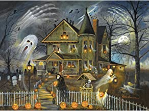 Bits and Pieces - 300 Large Piece Jigsaw Puzzle for Adults - Haunted Haven - 300 pc Halloween Jack-o-Lanterns Jigsaw by Artist Ruane Manning