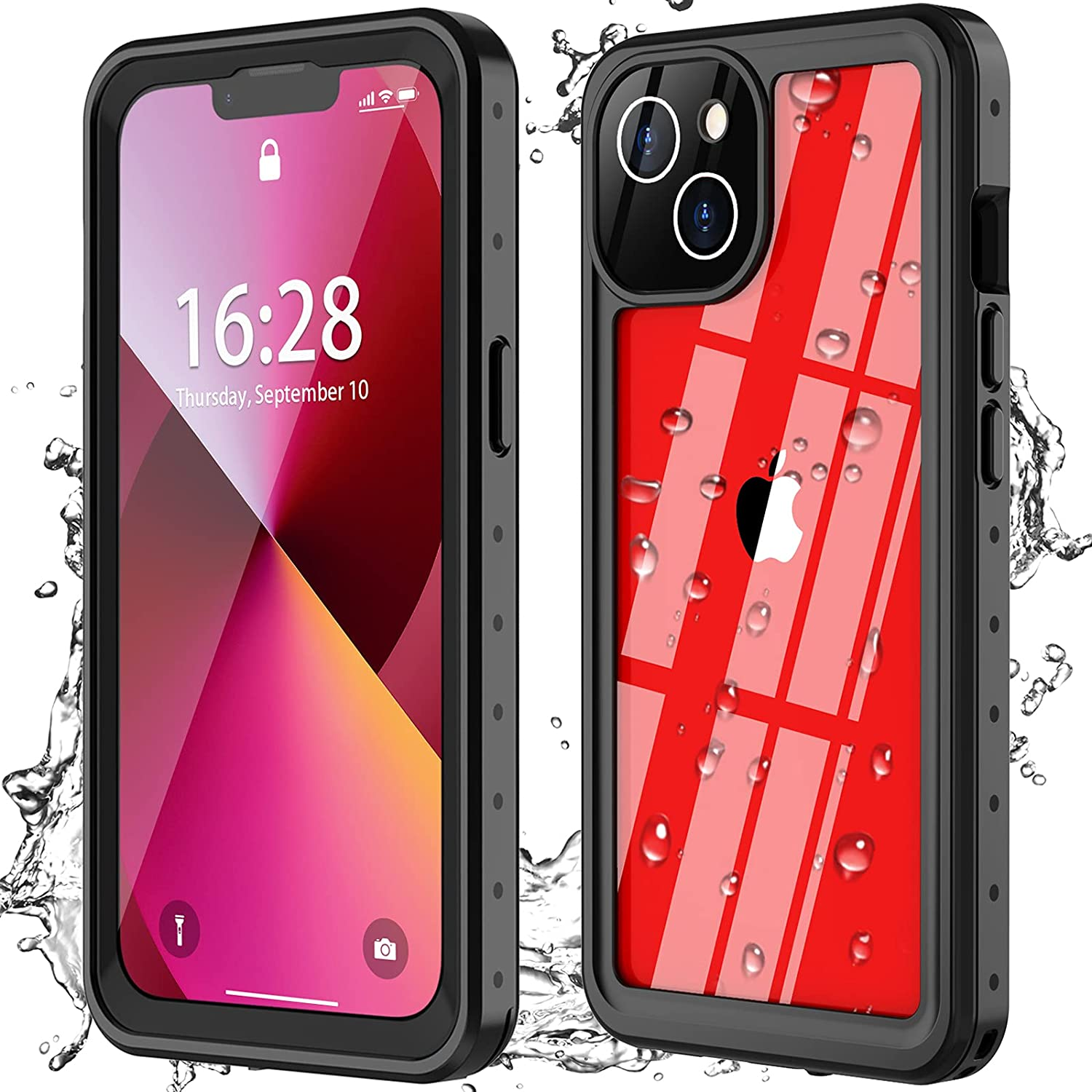 Oterkin for iPhone 13 Case,iPhone 13 Waterproof Case 360 Degree Full Sealed with Built-in Screen Protector Shockproof Dustproof Clear Case for iPhone 13 6.1 inch 2021(Black)