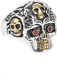 BodyJ4You Ring Biker Hard Rock Heavy Metal Goldtone Skull Steel Size 12 Men Women Statement Band