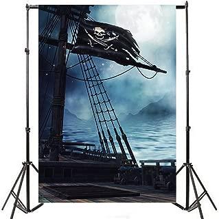 Yeele 8x10ft Pirate Wooden Boat Background Jolly Roger Skull Logo Hazy Sea Surface Moonlight Photography Backdrops Vinyl Brave Boys Baby Photo Shoot Studio Props