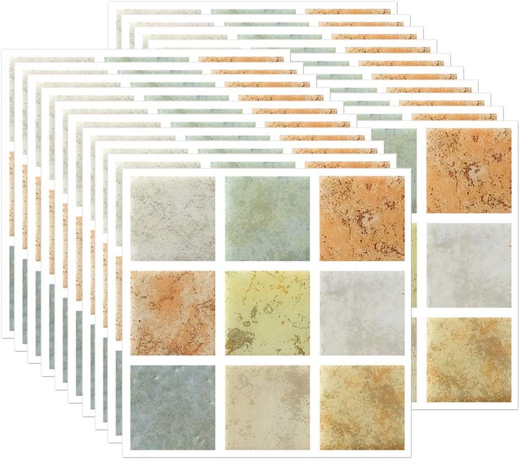 FBBULES 20 Piezas Pegatinas de Pared PVC, Azulejos Adhesivos Resistente Calor Impermeable Protector contra Salpicaduras para Sala Cocina Mosaico Naranja (10 x 10 cm / 4 x 4 Pulgadas)