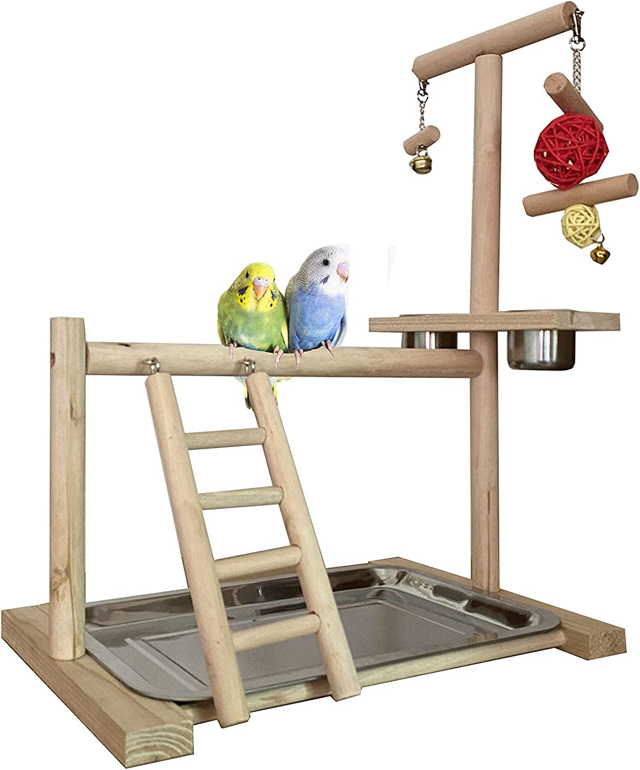 NAPURAL WYunpets Bird Playground Birdcage Playstand Parrot Play Gym Parakeet Cage Decor Budgie Perch Stand with Feeder Seed Cups Ladder Chew Toys Conure Macaw Cockatiel Finch Small Animals : Pet Supplies