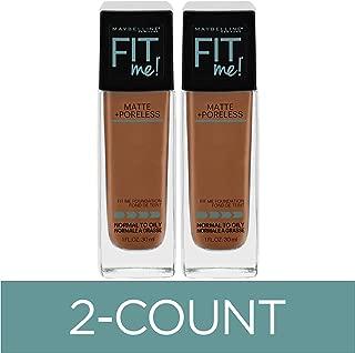 Maybelline Fit Me Matte + Poreless Liquid Foundation Makeup, Mocha, 2 COUNT