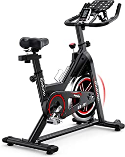 Rinkmo Spin Bike, Stationary Indoor Cycling Bike With Belt Drive, Exercise Bike With 35Lbs Chromed Solid Flywheel, LCD Monitor, Adjustable Seat and Handlebars