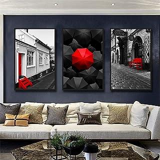 Dfghbn Wall Art Peinture Noir et Blanc Moderne en Toile Rouge Posters Art de Mur 3 Panneaux Photos Ferme Décor prêt à accr...