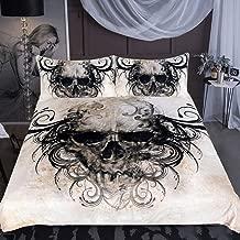 Sleepwish Haired Skull Bedding Duvet Cover Skull Black Hair Bed Set 3 Piece Vintage Skull Doona Covers Halloween Gothic Bedspread (King)