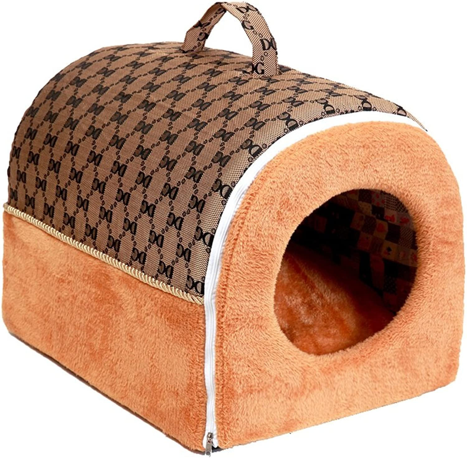 Dog Bed Cat House Portable dog house Removable and washable pet pad Pet supplies (color   B, Size   554743cm)