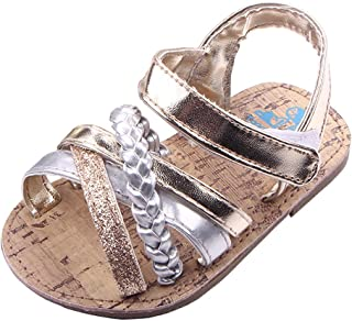 Beeliss Baby Girls Sandals Rubber Sole Summer Shoes with Flowers